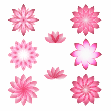 health resort: Set flowers abstract vector icons design template. Health & SPA creative idea. concept symbol icon for boutique, beauty salon, cosmetician, shop, yoga class, hotel and resort. Vector illustration