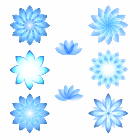 cosmetician: Set flowers abstract vector icons design template. Health & SPA creative idea. concept symbol icon for boutique, beauty salon, cosmetician, shop, yoga class, hotel and resort. Vector illustration