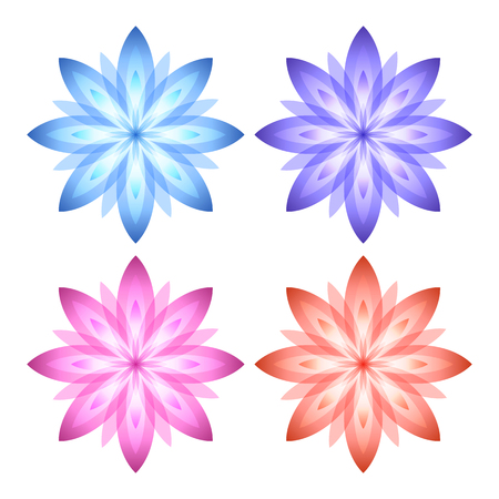 massage symbol: Set flowers abstract vector icons design template. Wellness & SPA creative idea. concept symbol icon for boutique, beauty salon, cosmetician, relax massage, hotel & resort. Vector illustration EPS 10 Illustration