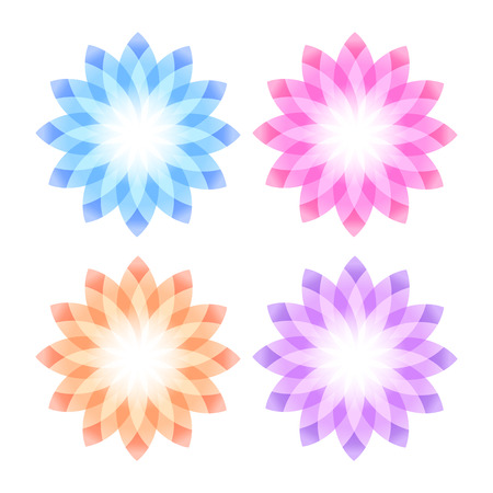 hotel resort: Set flowers abstract vector icons design template. Wellness & SPA creative idea. concept symbol icon for boutique, beauty salon, cosmetician, relax massage, hotel & resort. Vector illustration EPS 10 Illustration