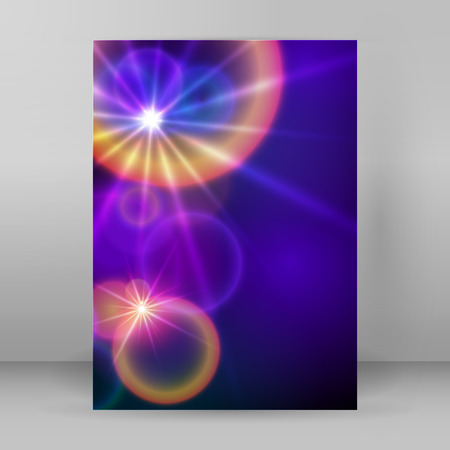 dancefloor: Advertising flyer party design elements. Purple background with elegant graphic blur bright light circles. Fun illustration for template brochure, layout leaflet, cafe menu card Illustration