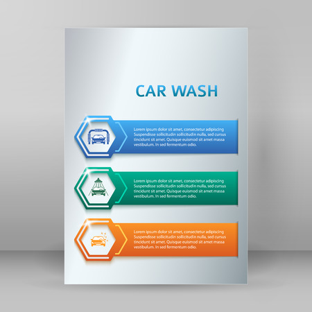 tire cover: Car wash design elements background with icons on color stripe. Modern business presentation template for car-wash business. Abstract vector illustration