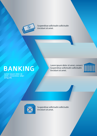 broshure: Modern Design style infographic template. Illustration of different kinds of banking. Can be used for infographics and typography, chart process the bank, business service steps options