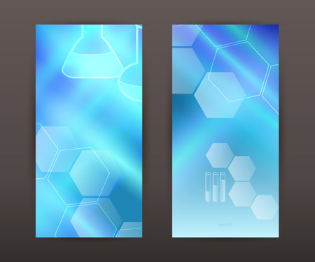 inovation: Abstract background science education concept. Graphic Design Elements chemistry hexagon icon tubes, flasks, graduation cap Vector Illustration Illustration
