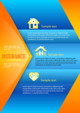 homeowner: Modern Design style infographic template. Illustration of different kinds of insurance. Can be used for infographics and chart process the insurance company, business service steps options Illustration
