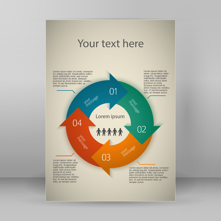 arrows circle: Modern Design infographic style template on vintage background with numbered 3d effect blue arrows circle. Vector illustration Illustration
