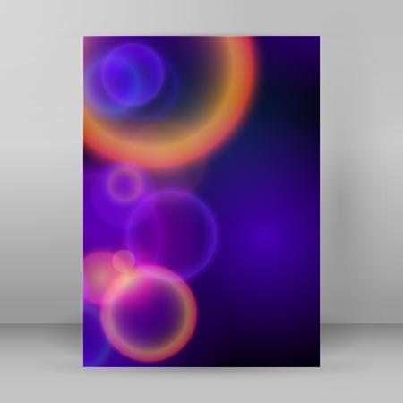 lighten: Advertising flyer party design elements. Purple background with elegant graphic blur bright light circles. Fun illustration for template brochure, layout leaflet, cafe menu card Illustration