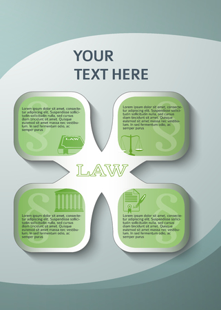 solicitor: Modern design style infographic for Legal & law firm. Vector illustration  . Can be used for business presentation or brochure template the justice office, notary company, business card lawyer