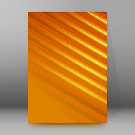 dazzling: Orange background advertising brochure design elements. Glowing light stripe oblique graphic form for elegant flyer