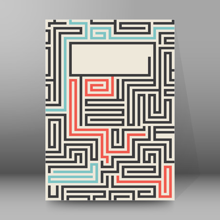 dudando: Laberinto de la textura de la vendimia y el lugar para su texto aislado. Resumen ilustración vectorial EPS 10. Concepto psicología, solución creativa de problemas, el pensamiento lógico, el estudio de las relaciones humanas Vectores