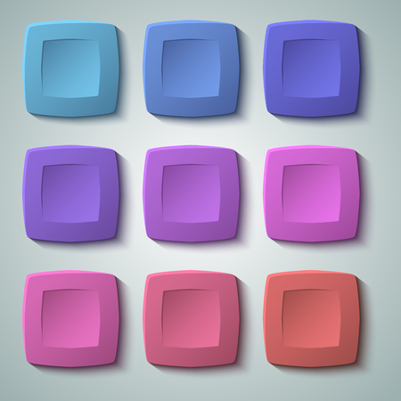 Set of blank colors buttons for website or app. Vector, matte plastic texture with glow effect design and squares shape elements, backdrop banner concave dent. Illustration