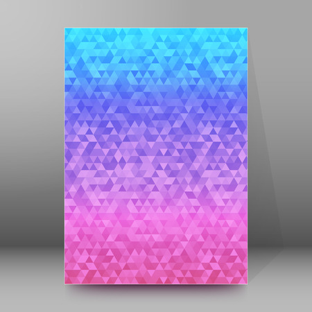 frash: Abstract blue background advertising brochure design elements. Glowing light mosaic graphic form for elegant flyer. Vector illustration for booklet layout page, leaflet template, newsletter
