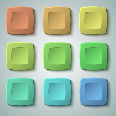 dent: Set of blank colors buttons for website or app. matte plastic texture with glow effect design and squares shape elements, backdrop banner concave dent. Illustration