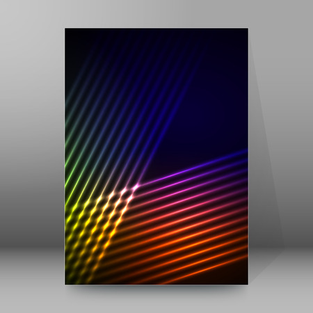Abstract background advertising brochure design elements. Futuristic style glow neon disco club, night party for elegant flyer. Vector illustration for layout page newsletters, vertical banner