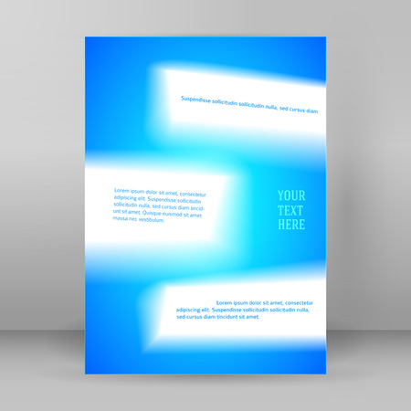 Abstract background advertising brochure design elements. Glowing light wave lines graphic form for elegant flyer. Vector illustration for booklet layout page, leaflet template, vertical banner Illustration