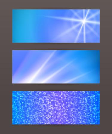 Design elements business presentation template. Set horizontal banners background, backdrop glow light effect. Vector illustration for web buttons template Illustration