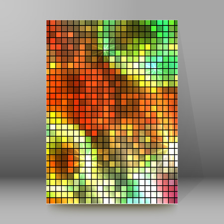 Abstract background advertising brochure design elements. Glowing light mosaic graphic form for elegant flyer.