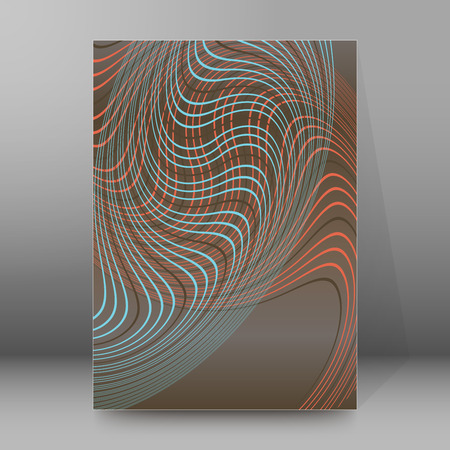Abstract background advertising brochure design elements. Glowing light wave lines graphic form for elegant flyer. Vector illustration for booklet layout page, leaflet template, vertical banner Illustration