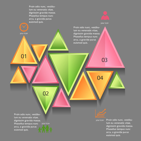 Modern Design infographic style template on white background with numbered 3d effect triangle.