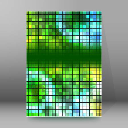 Abstract background advertising brochure design elements. Glowing light mosaic graphic form for elegant flyer. Vector illustration for booklet layout page, leaflet template, vertical banner Illustration
