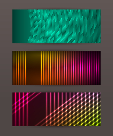 Design elements business presentation template. Set horizontal banners background, backdrop glow light effect. Vector illustration