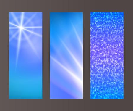 Les éléments de conception de modèle de présentation. Définir bannières verticales fond, effet toile de fond lueur de lumière. Vector illustration pour les boutons Web modèle, carte de visite mise en page, élément de site web Vecteurs