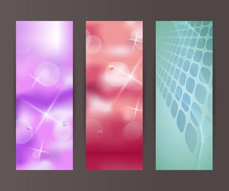 nebulous: Design elements presentation template. Set vertical banners background, backdrop blur glow light effect. Vector illustration   for web buttons template, business card layout, web site element Illustration