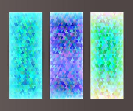 erect: Design elements presentation template. Set vertical banners background, backdrop mosaic glow light effect. Vector illustration  for web buttons template, business card layout, web site element