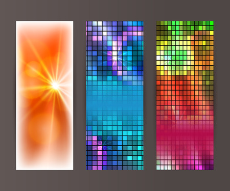 Design elements presentation template. Set vertical banners background, backdrop mosaic glow light effect. Vector illustration   for web buttons template, business card layout, web site element