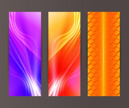 erect: Design elements presentation template. Set vertical banners background, backdrop lines glow light effect. Vector illustration  for web buttons template, business card layout, web site element Illustration