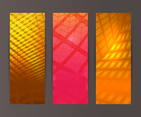 erect: Design elements presentation template. Set vertical banners background, backdrop mosaic glow light effect . Vector illustration  for web buttons template, business card layout, web site element