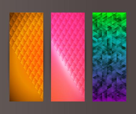 erect: Design elements presentation template. Set vertical banners background, backdrop mosaic glow light effect. Vector illustration Illustration