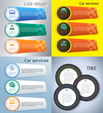 tire cover: Set Car service business presentation template on steel background. Vector illustration