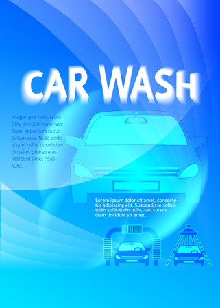 bulletin: Car wash blue light background with icons design elements.