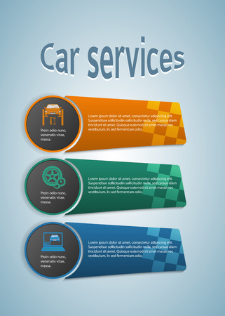 tire cover: Car service business presentation template on steel background. Illustration