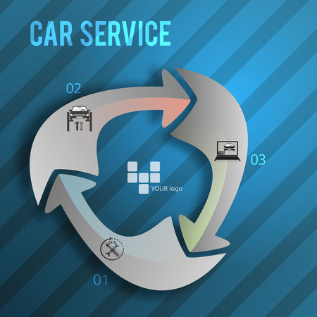 Auto service and car wash background with icons design elements.