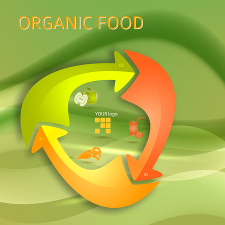 Healthy lifestyle and organic food icons over background on infographics.