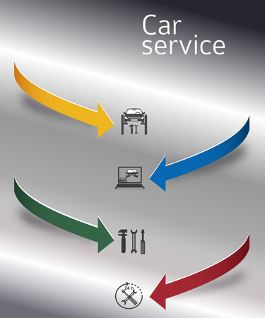 Auto service and car repair background with icons design elements on vertical rectangular banner.