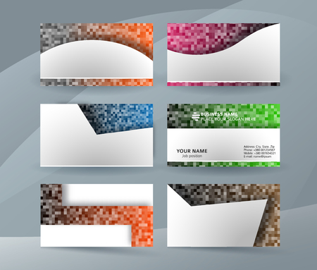 professional and designer business card template or clear & minimal visiting card set, name card white background with colors MOSAIC SQUARE. Vector illustration EPS 10 for presentation slide
