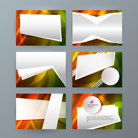 Design elements presentation template. Set horizontal banners mosaic glow light effect. Vector illustration