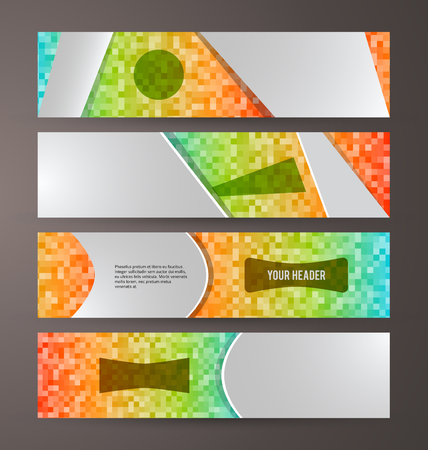 web site: Set Design elements website business presentation template. Vector illustration horizontal web banners background, backdrop MOSAIC SQUARE form broken line. EPS 10 for web button, web site page heading Illustration