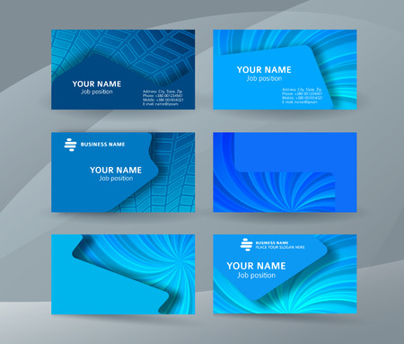 Abstract professional and designer business card one sided template or clear and minimal visiting card set, name card blue background. Vector illustration EPS 10 for presentation slide banners