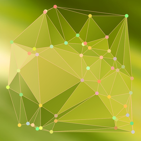 Green polygonal image, which consist triangle. Triangular pattern for business design. Geometric background in Origami style. Illustration