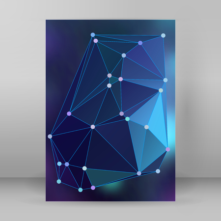 lighting background: Geometric colors gradient background of bright perspective with lighting glowing triangle 3d effect crystal lattice lines & point circle. Illustration
