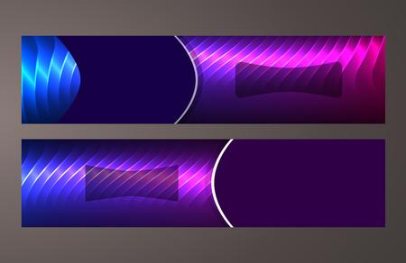 Design elements presentation template. Set horizontal banners background purple glow light effect.