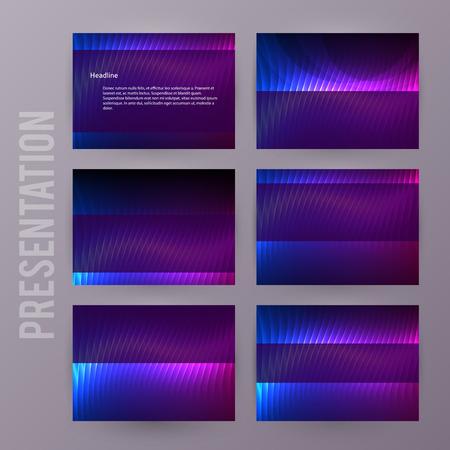 Business templates for multipurpose presentation slides. Easy editable vector EPS 10 layout. Set of 6 design brochure advertising, Northern Lights neon. Ilustrace