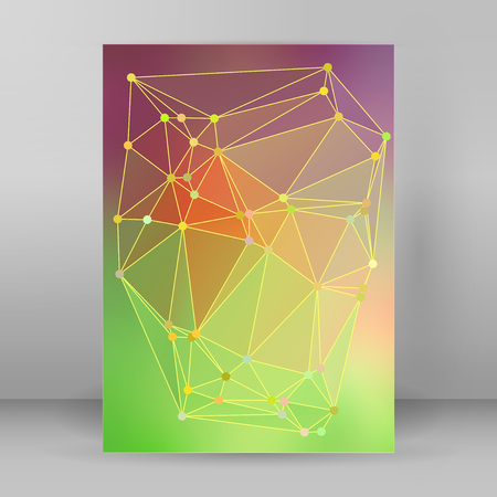 lighting background: Geometric colors gradient background of bright perspective with lighting glowing triangle 3d effect crystal lattice lines & point circle. Graphic template.