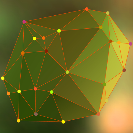 Abstract crystalline form with edge lines and vertex point. Modern triangle geometrical background in Origami style with colors gradient polygonal.