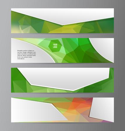 Design elements presentation template. Set horizontal banners background green glow light effect.