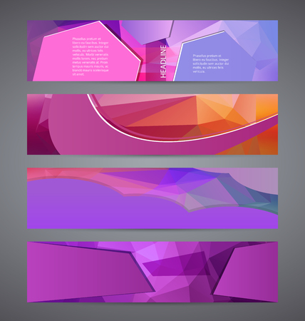 Design elements presentation template. Set horizontal banners background lilac purple glow light effect. Illustration